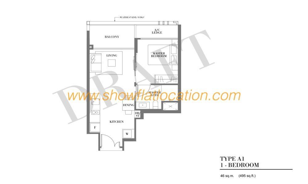 Botanique Bartley Floor Plan - Type A1 (1 Bedroom)