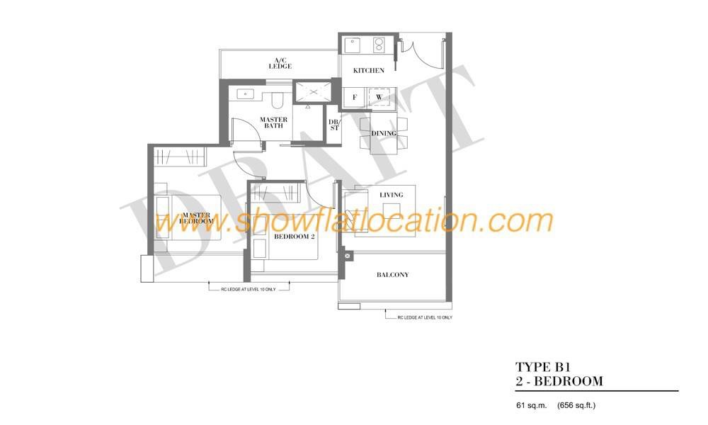 Botanique Bartley Floor Plan - Type B1 (2 Bedroom)