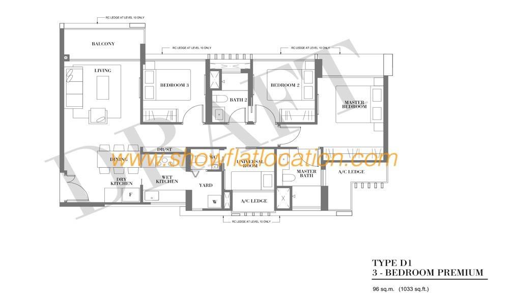 Botanique Bartley Floor Plan - Type D1 (3 Bedroom Premium)