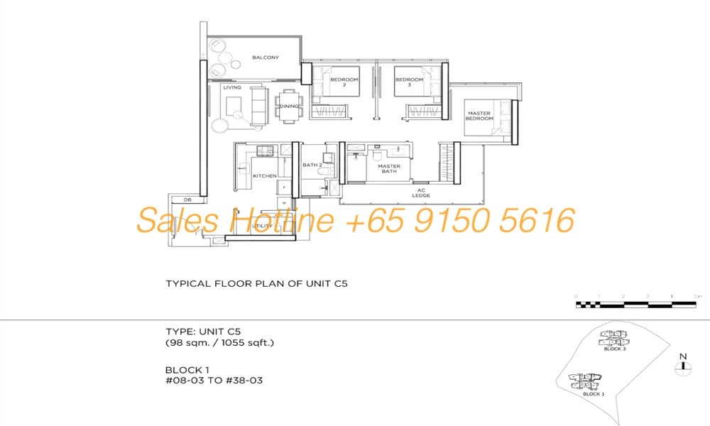 Gems Residences - Typical 3 Bedroom Floor Plan