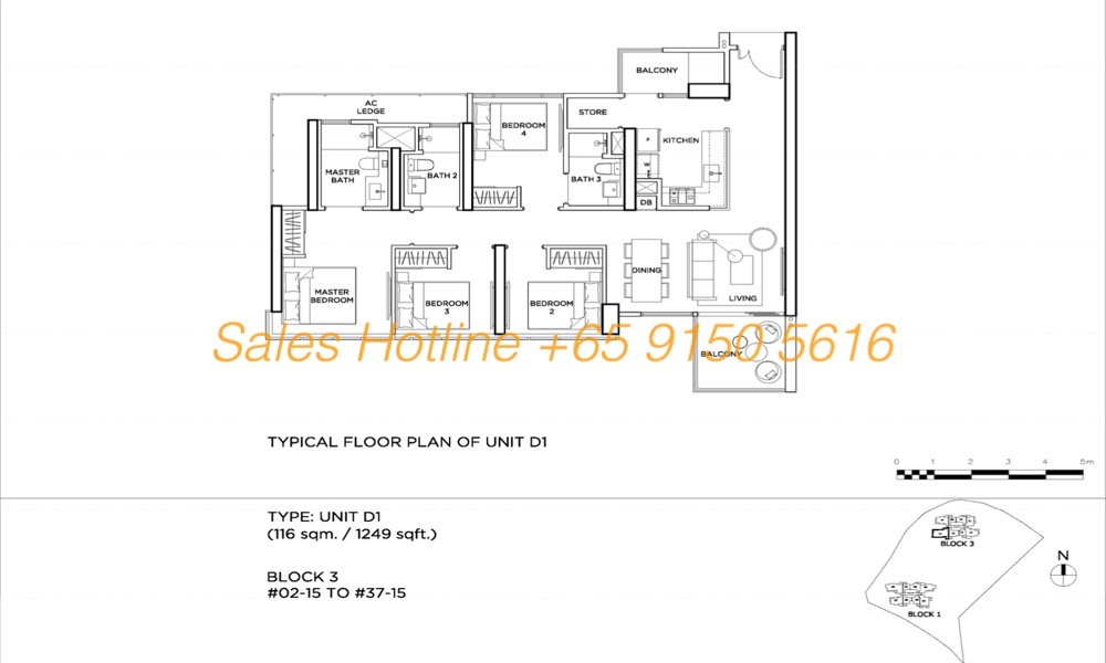 Gems Residences - Typical 4 Bedroom Floor Plan