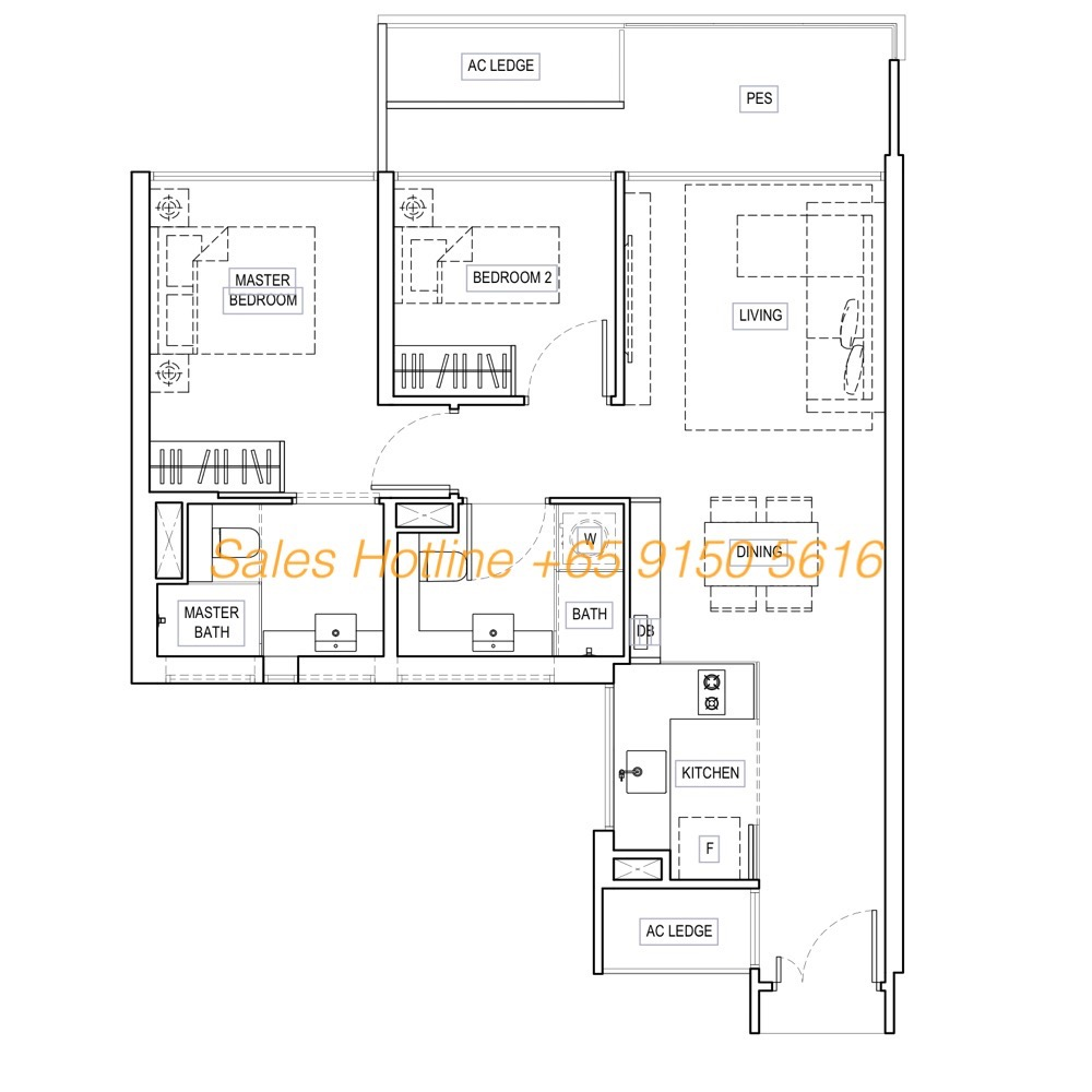 Kandies Residences - Showflat Layout Type B5G 2Bedroom