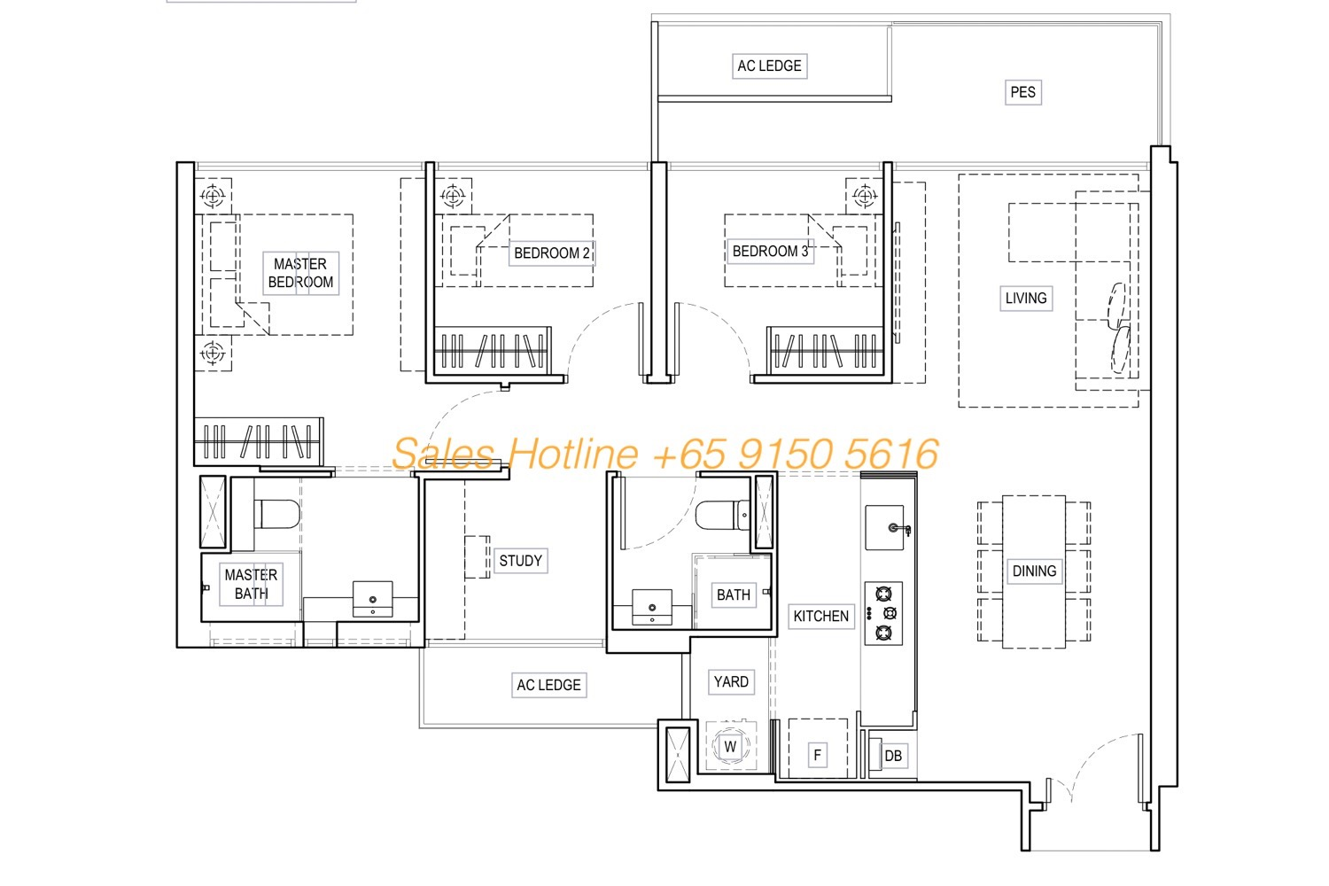 Kandies Residences - Showflat Layout Type C3SG 3 Bedroom + Study