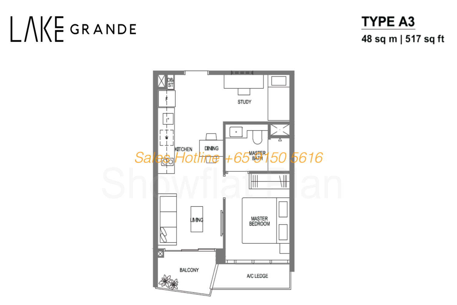 Lake Grande Floor Plan 1 Bedroom