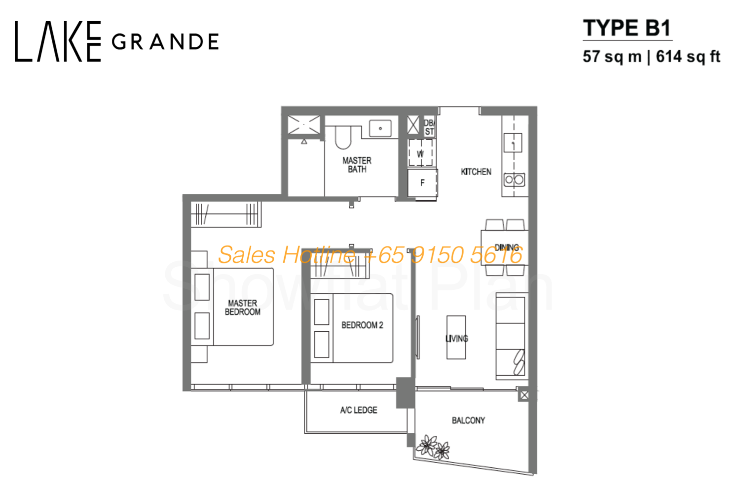 Lake Grande Floor Plan 2 Bedroom