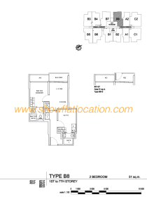 Liv On Wilkie Floor Plan - 2 Bedroom Type B8