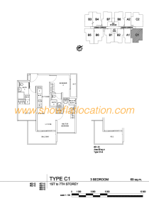 Liv On Wilkie Floor Plan - 3 Bedroom Type C1