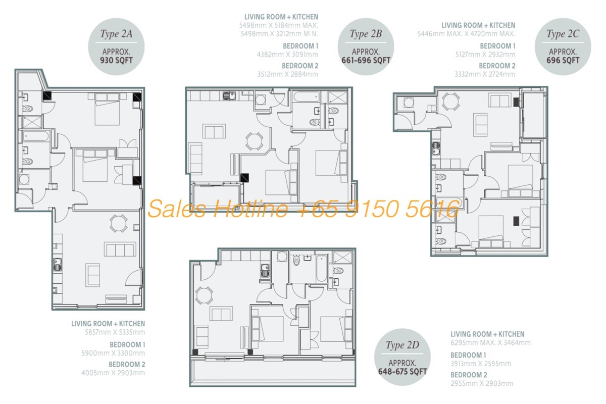 One Regent Floor Plan - 2 Bedroom