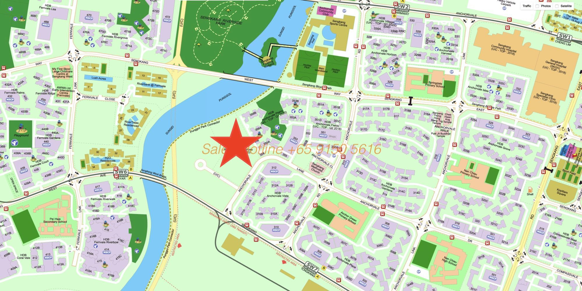 Rivercove Residences EC - Location Map