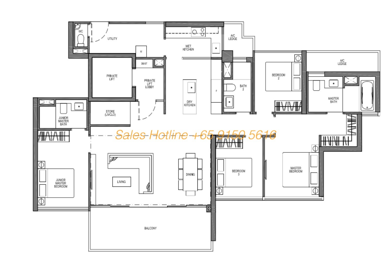 Seaside Residences Floor Plan - Prive