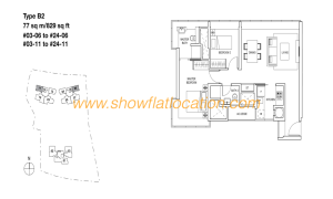 Skyline Residences Floor Plan - 2 bedroom (2)