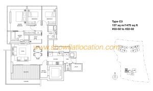 Skyline Residences Floor Plan - 3+1 bedroom