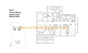 Skyline Residences Floor Plan - 3 bedroom