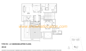 Skyline Residences Floor Plan - 4+1 bedroom Upper Floor