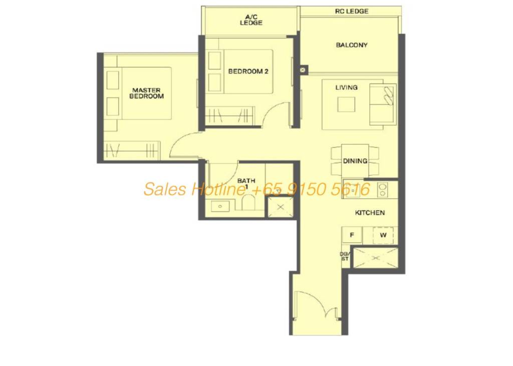 The Clement Canopy Floor Plan - 2 Bedroom Type A2  sc 1 th 190 & The Clement Canopy by UOL | View Showflat: +65 6100 1380