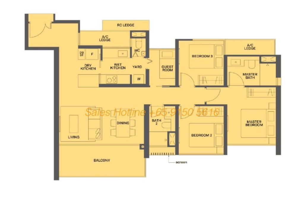 The Clement Canopy Floor Plan - 3 Bedroom Type D1  sc 1 th 190 & The Clement Canopy by UOL | View Showflat: +65 6100 1380