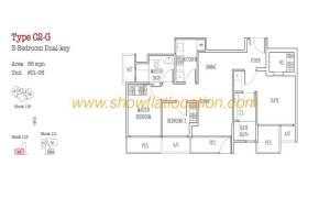 Trilive Floor Plan - 3 Bedroom Dualkey 2