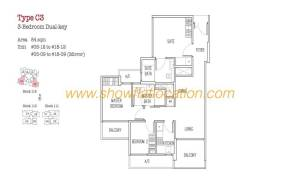 Trilive Floor Plan - 3 Bedroom Dualkey 4