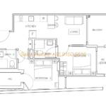 Rezi 35 Floor Plan - 2 Bedroom