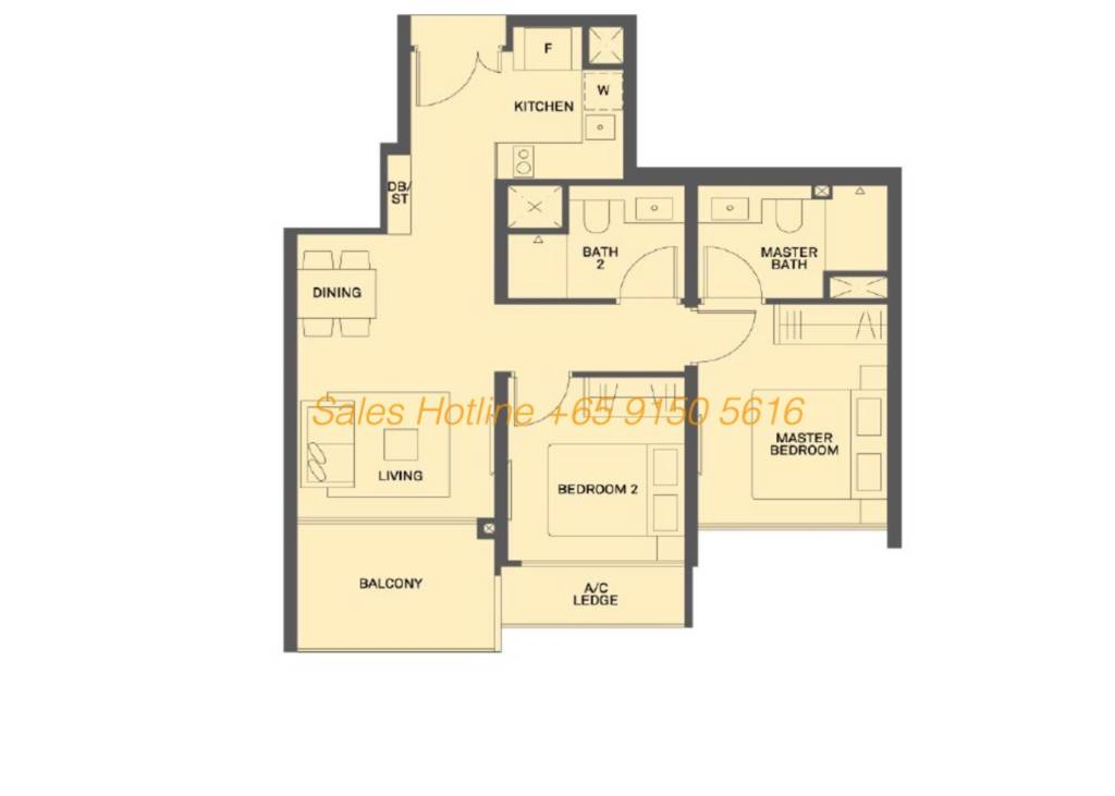 The Clement Canopy Floor Plan - 2 Bedroom Type B2