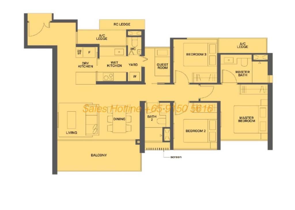 The Clement Canopy Floor Plan - 3 Bedroom Type D1