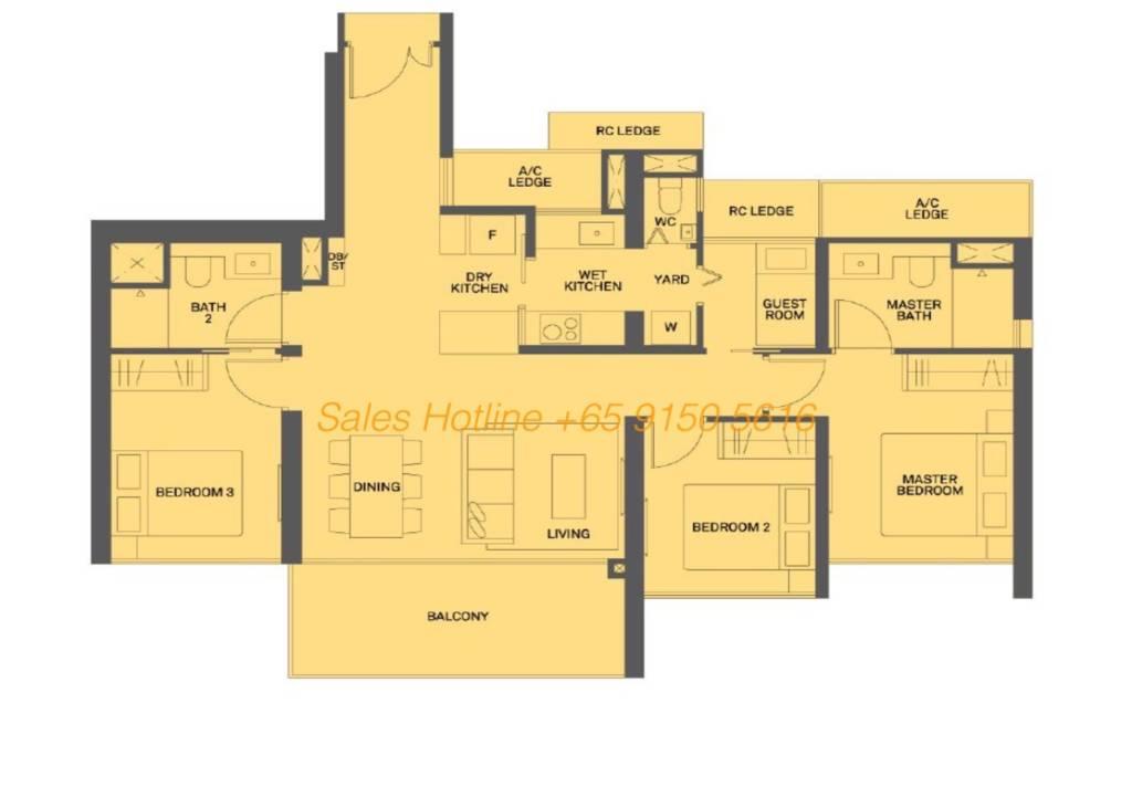 The Clement Canopy Floor Plan - 3 Bedroom Type D2