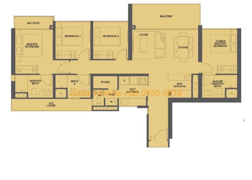 The Clement Canopy Floor Plan - 4 Bedroom Type E